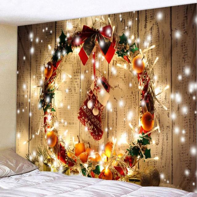 Glitter Wood Tree Xmas Garland Christmas Vintage Square Wall Hanging