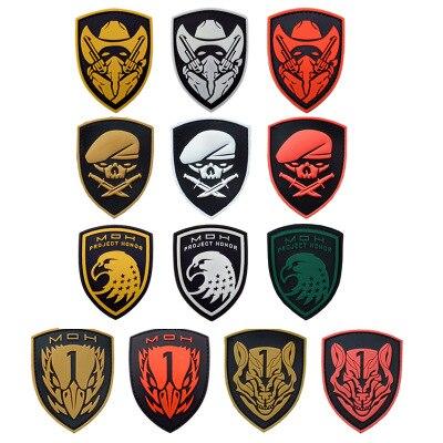 20 pièces En Caoutchouc MOH Patch Aigle 3D PVC Soldat Tactique Badge Combat Brassard Militaire Brassard chevrons En Gros