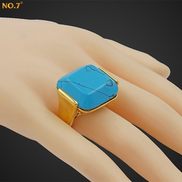 Big Size 10 High-end Brand Luxury New Trendy 18k Real Gold Plated Turquoise Ring Men Engagement Rings Jewelry Anillos