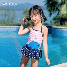 AONIHUA swimming one-piece suits Waterproof Powder stripe For Sweet Girls Swimwear Batching Suit Travel/Swim Dress 2-12 Years