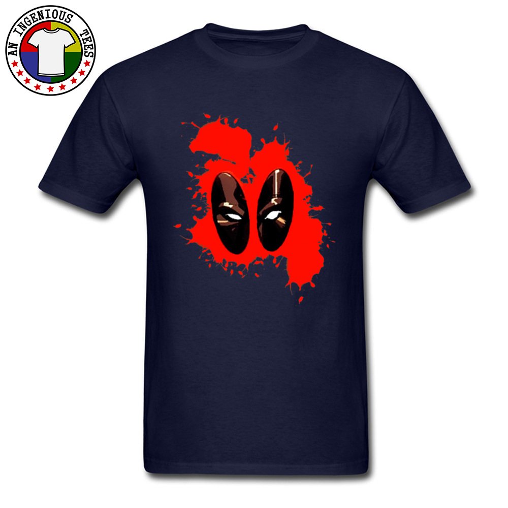 Deadpool Splattered 1226 Male Slim Fit Normal Tops Shirts Round Collar Fall 100% Cotton Tshirts Gift Short Sleeve Tee Shirts Deadpool Splattered 1226 navy