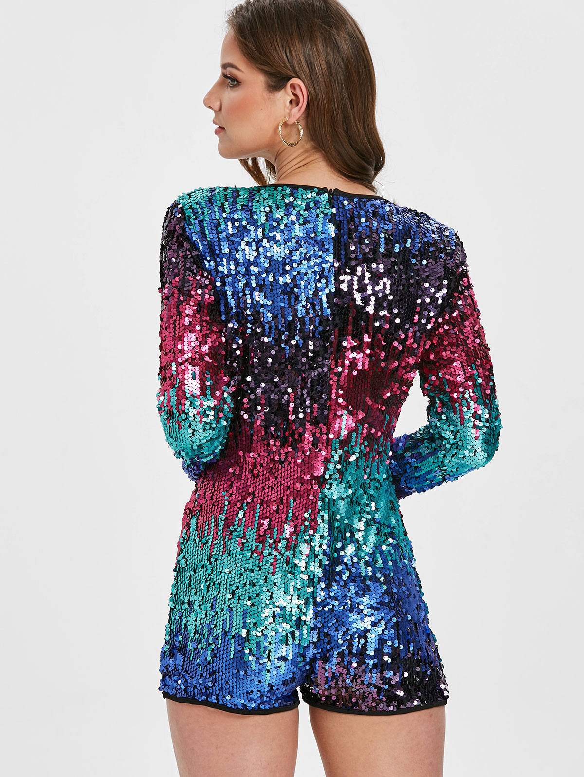 4bbc0b27641 2019 Wipalo Plunge Neck Sequin Romper Full Sleeve Deep V Neck Sexy ...