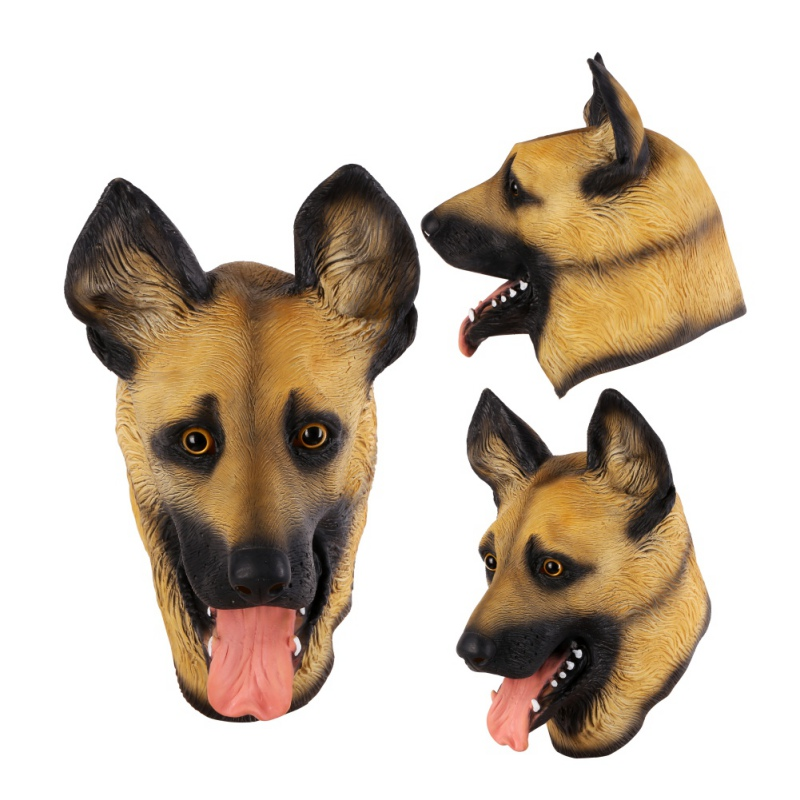 Halloween Party Props Latex Adult Mask Cute Cartoon Wolf Dog Full Face Animal Role Play Masquerade Creative Breathable Mask