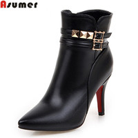 ASUMER new arrive women boots fashion pu leather pointed toe zipper buckle super high ankle boots simple