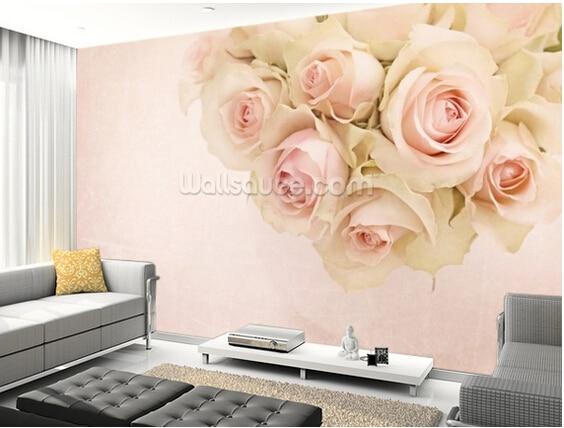 Carta Da Parati Rosa Bianca : Personalizzato carta da parati floreale romantico rosa bianca foto