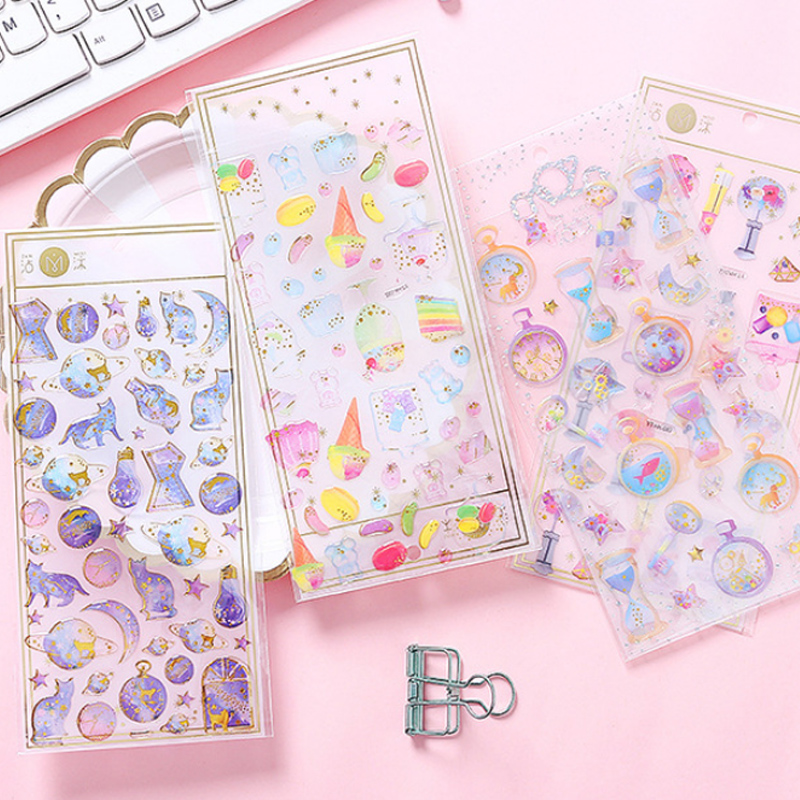 Kawaii Crystal 3D Heart Sticker DIY Scrapbooking Diary Album Sticker Post Stationery School Supplies