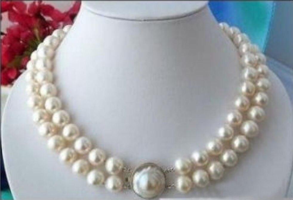 8af1441896b3 Hermosa AAA 2 fila 9-10mm blanco collar de perlas del Mar del Sur redondo  18-19 palabra mujer de la venta al por mayor para las mujeres de plata de  joyería