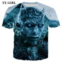 2018 Summer Casual T shirt Men 3d Print Game of Thrones T-shirt Short Sleeve T-shirts Tees Tops Fire Dragon Queen t