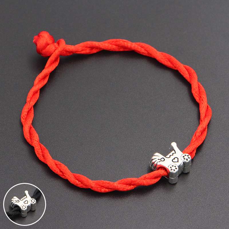 2020 New Baby Carriage Beads 4mm Red Thread String Bracelet Lucky Red Handmade Rope Charm Bracelet for Women Men Jewelry
