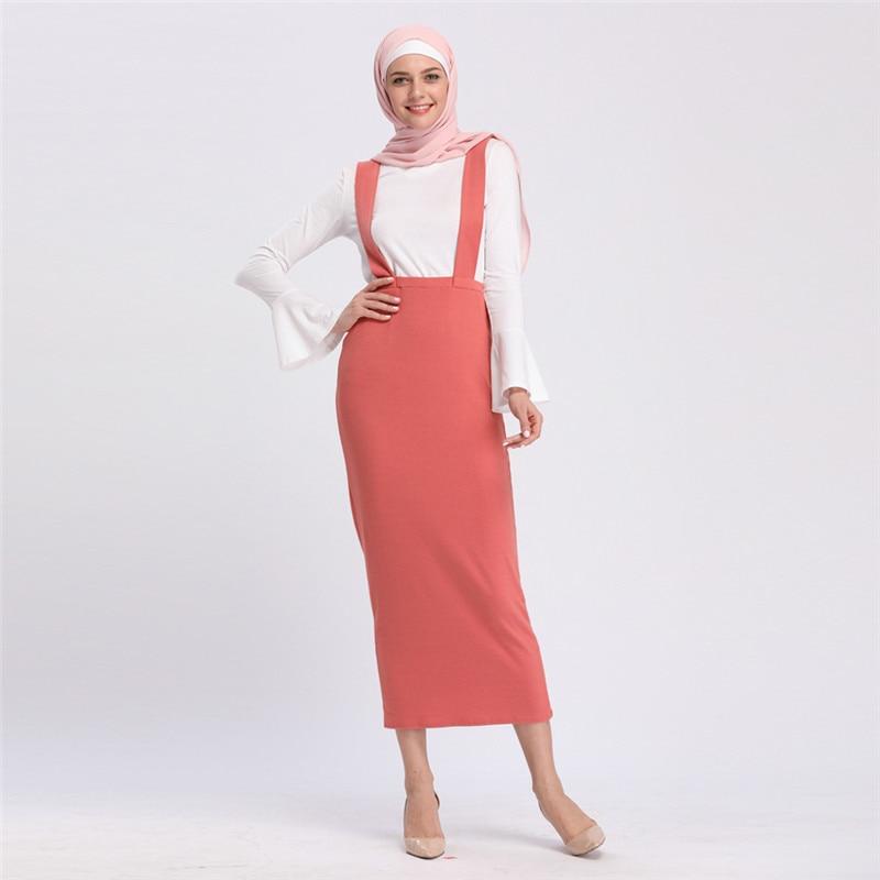 Muslim Women Package Hip Long Sling Skirt Button Solid Color Slim Pencil Skirt Fashion Ramadan Worship Service Islamic Clothing