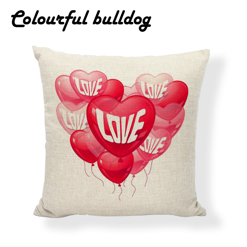 Valentines Day Cushion Covers Balloon Of Love Ribbon Flowers Patterns Home Decor Living Room Wedding Girls Car Beds Pillow Case