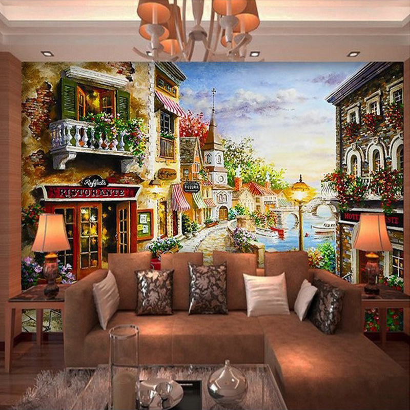 Custom 3D Mural Wallpaper European Oil Painting Countryside Restaurant Living Room Sofa Background Wallcoverings Wall Paper  free shipping large mural wallpaper villa living room ceiling european oil painting wallpaper