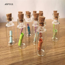 2ML 10PCS Small Bottle Tiny Clear Empty Wishing Glass Message Vial With Cork Stopper 16mm*35mm mini Containers Free shipping