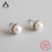Korea Hot Sale 925 Sterling Silver Earring Freshwater Pearl Fashion Zircon Earrings for Women