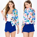 2015 New Fashion Ladies Jackets Women Fashion Floral 3/4 Sleeve Slim Casual Cardigan Coat Free Shipping 60