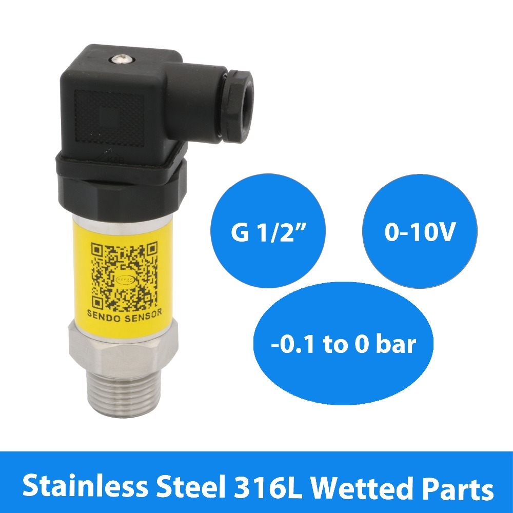 Capteur de pression négative-10 à 0kpa, 0 10 V, 3 fils, alimentation 12 V, 24 V, 30V DC, pièces mouillées en acier inoxydable 316L, filetage G1 2
