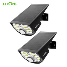 2 unids/lote LITOM CD200 jardín luces solares 30LED impermeable exterior pared luz 24 horas espera gran angular Sensor de movimiento lámpara Solar(China)