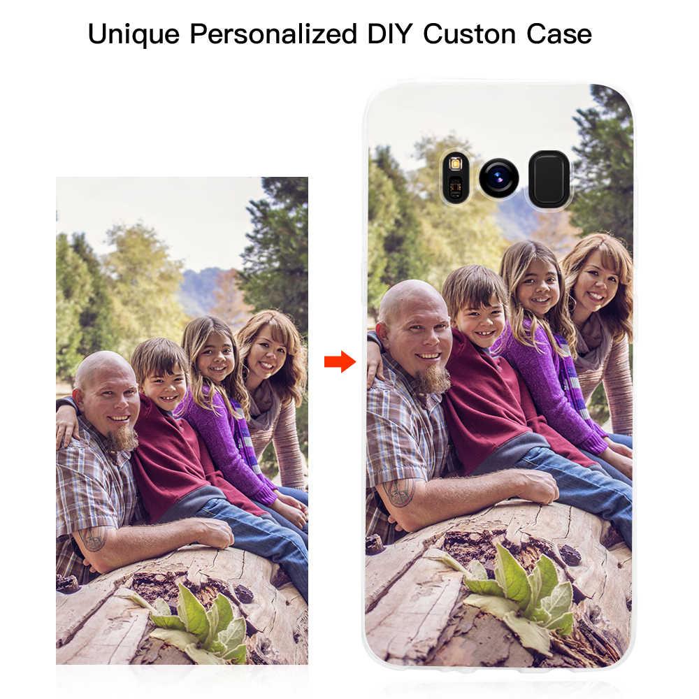 カスタマイズされた Diy 電話ケースプリントソフトクリアカバーケース iphone X XS 最大 8 7 プラス 6 s 、 se 5 サムスン S8 S9 プラス S7 S6 エッジ