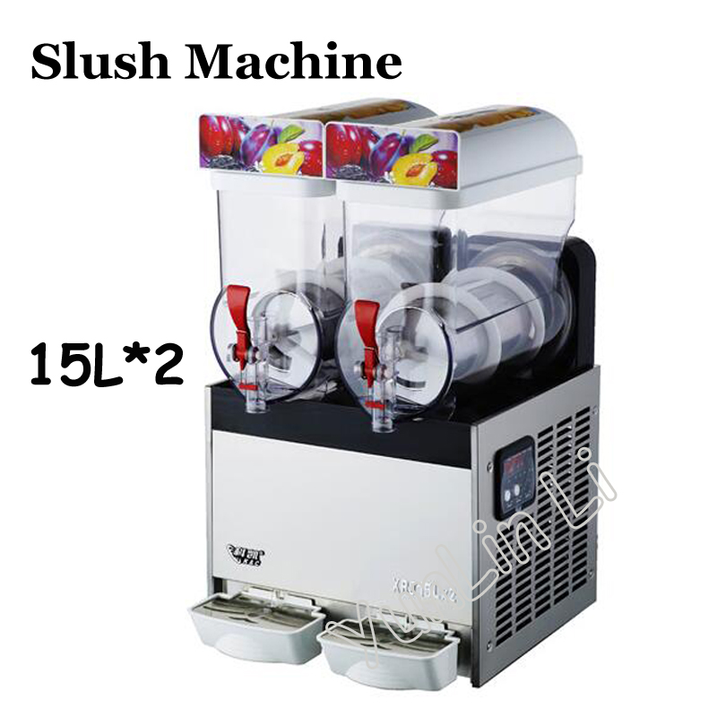 220V/110V Slush Machine 15L Beverage Ice Machine Snow Melting Machine 2 Tanks of Commercial Slush Machine XRJ 15L* 2