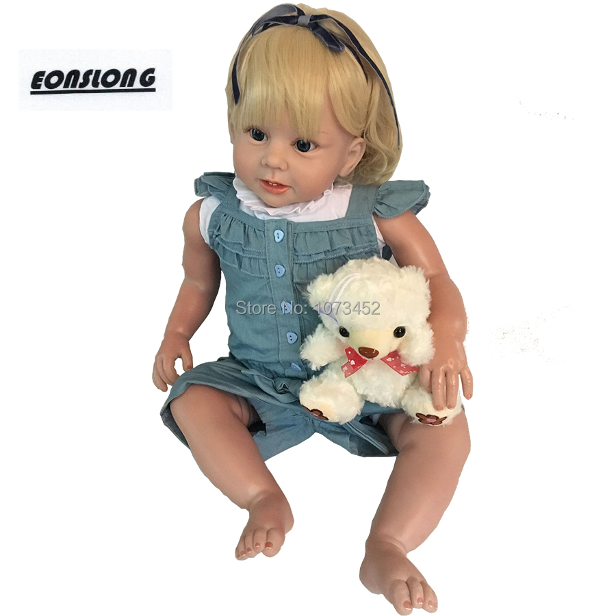 28 pouces Silicone Souple Réaliste Reborn Bébés Filles réaliste Bébé Poupées bebe reborn boneca avec courbe cheveux jouets pour enfants