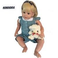 28 дюйм(ов) Мягкие силиконовые реалистичные Reborn малышей обувь для девочек реалистичные детские куклы bebe boneca с кудрявые волосы игрушечные лош