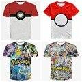 Adolescente Chicos Top 2016 Nuevos Juegos de Pokemon camiseta de Manga Corta Pikachu Impresión Más Tamaño Para Niños T Shirt 3D Anime Camisa