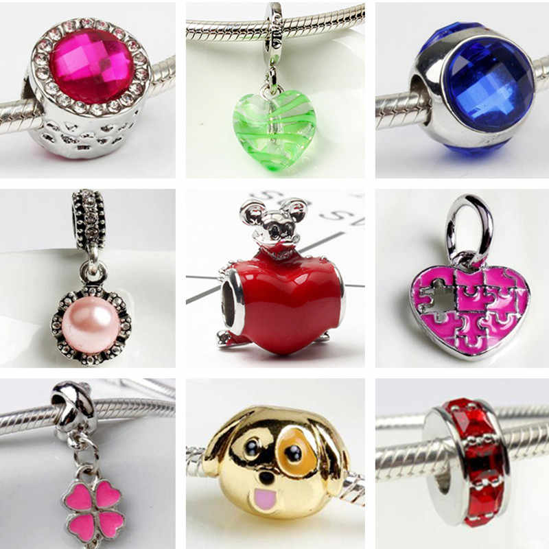 Enamel Small Crystal Butterfly Snake Watermelon Moon Rabbit Mickey Beads Charms Fit Pandora Bracelets for Women Maxi DIY Jewelry