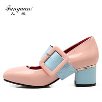 Fanyuan 2018 Fashion Pump women shoes Patent Leather Mary Jane Thick Heels Buckle Strap Sweet Girls mix color pumps scarpe donna