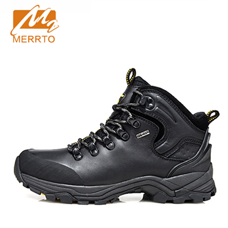2017 Merrto Mens Hiking Boots Waterproof Breathable Outdoor Sports Shoes Color Black Khaki Grey For Men Free Shipping MT18638 2017 mens hiking shoes breathable rock climbing camping outdoor sports shoes for men army green black free shipping c101