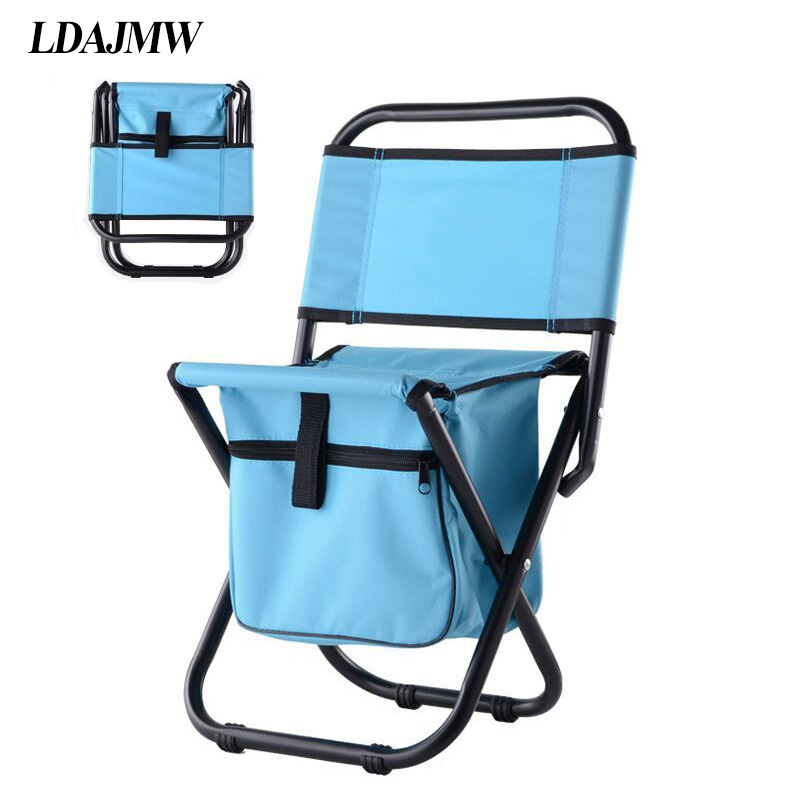 Ldajmw multifunctional beach backrest chair ice bag for Ice fishing chairs