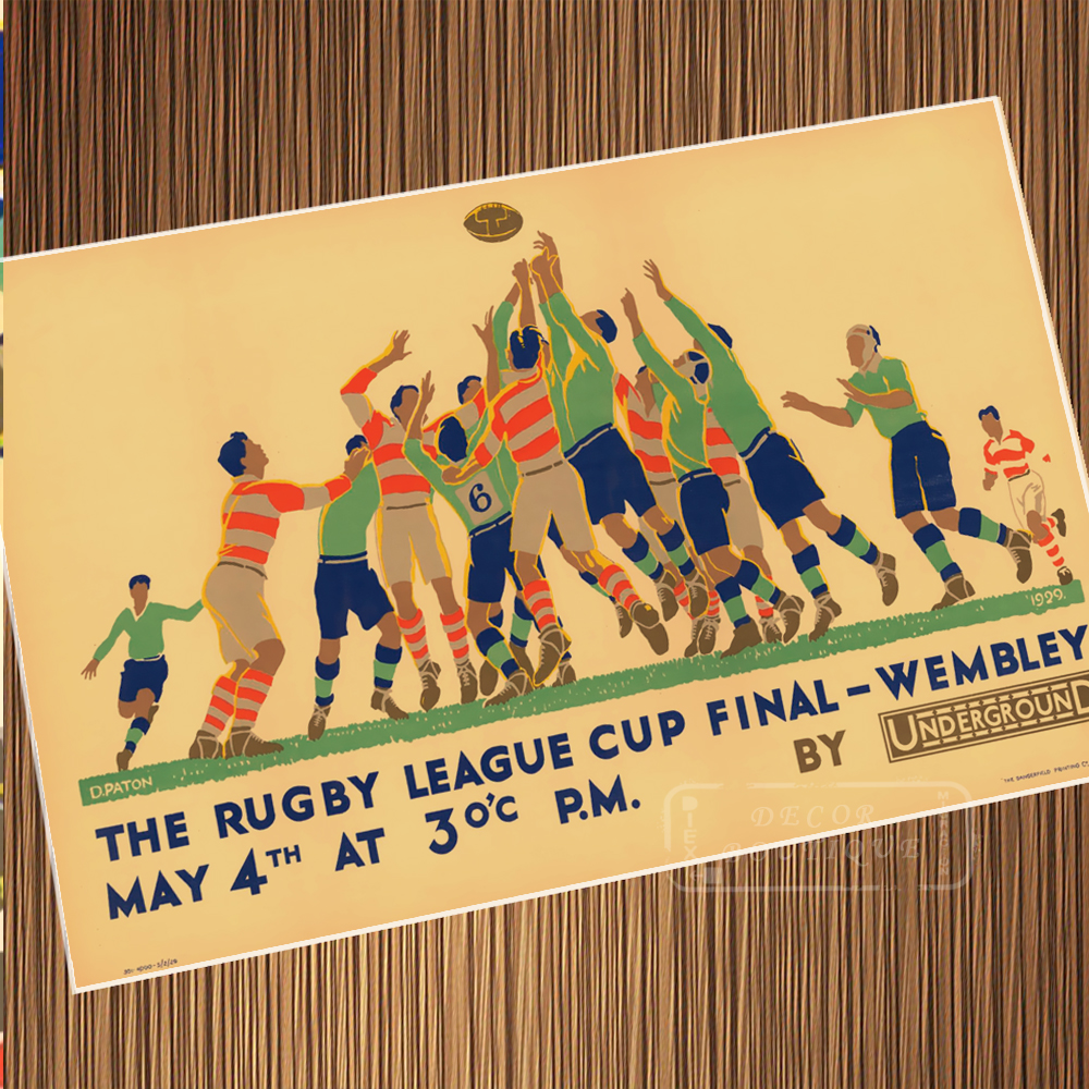 Vintage Rugby American Football the Rugby League Poster Canvas ...
