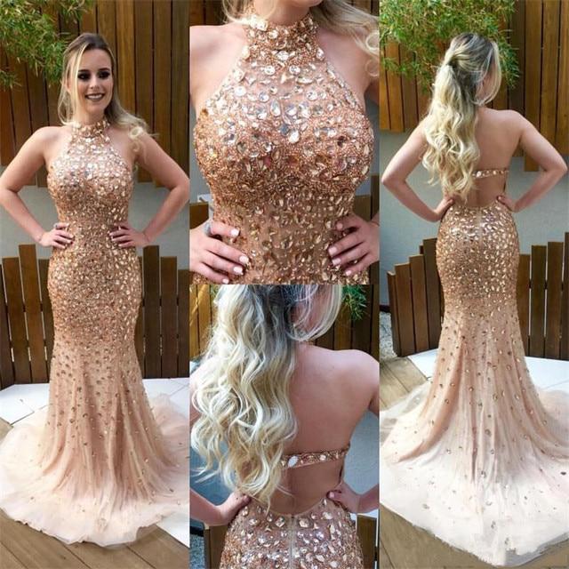 Ouro champagne cristal frisado china vestidos de baile 2017 luxo robe de soiree halter sereia imported party dress for evening