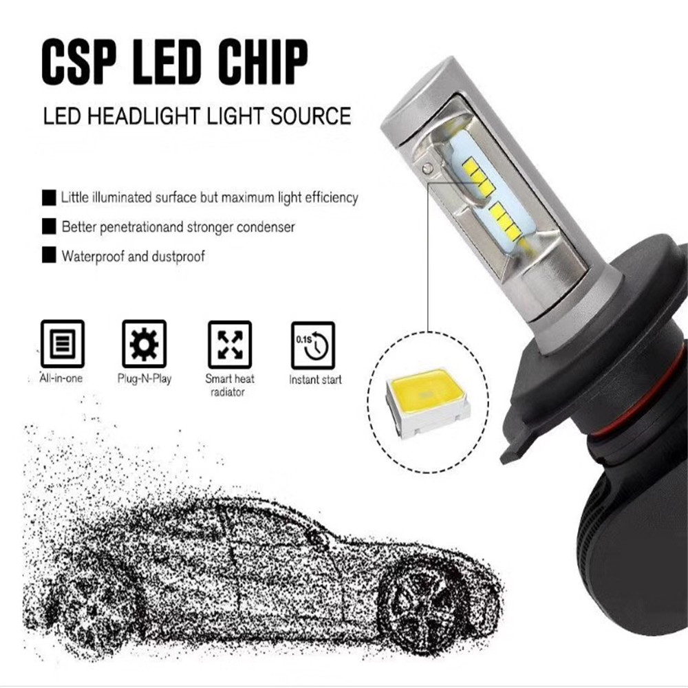 2Pcs S1 H4 H11 H13 9005/HB3 9006/HB4 H7 12V 24V Car Headlight Bulbs Auto LED Fog Lamps 6500K for AUDI TOYATO KIA VW