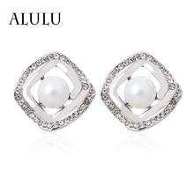ALULU New Fashion Geometric Square Pearl Clip Earrings High Quality ear cuff Women Jewelry white/Black/Golden Silver Earrings
