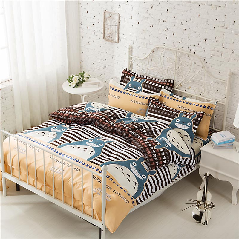 4pcs Bedding Sets Duvet Cover Quilt TOTORO Bedclothes Bag Bed Sheet Pillowcase Pillowslip No Shrink No Fabric Cartoon Stripe