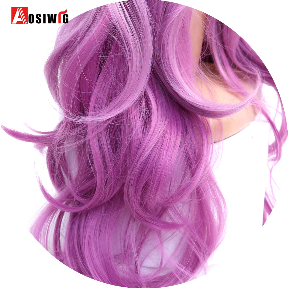 Long Wavy Ombre Wig Middle Part Synthetic Wig Heat Resistant Dark Roots Three Tone Women Natural Hair Wigs AOSIWIG