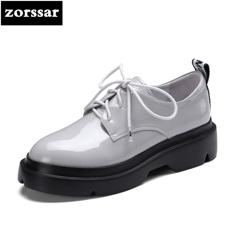 {Zorssar} 2018 New fashion Genuine Leather women High heels Round toe platform shoes pumps casual Lace-up ladies shoes big size big size high heels round toe women platform shoes cool casual white lace wedge black creepers medium pumps mesh chinese fashion
