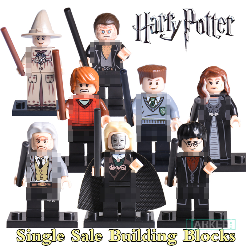 1PC Building Blocks Harry Potter Ron Weasley Professor Sprout Malfoy Argus Filc Figures Super Hero Bricks Kids DIY Toys KL9002 harry potter ron weasley gregory goyle lucius malfoy argus narcissa professor sprout figures bricks toys for children kl9002