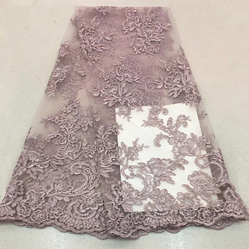 2018 high quality nigerian french lace embroidered tulle lace fabric for wedding dress Russia African lace