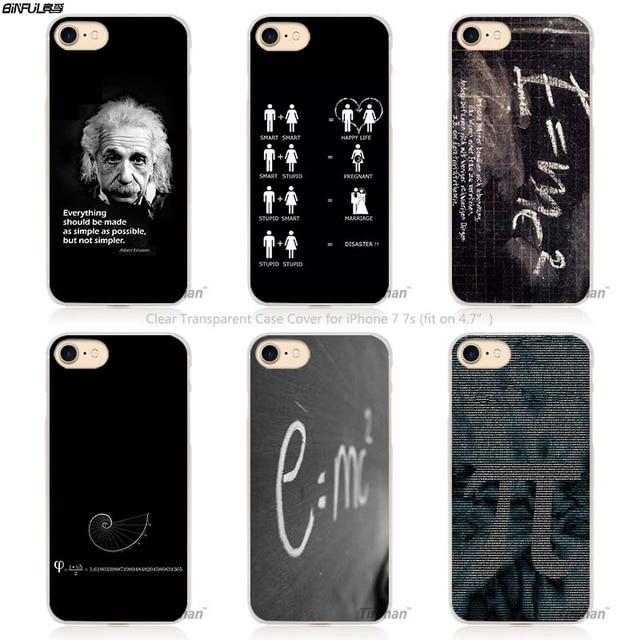BiNFUL e mc2 with E=mc Math Albert Einstein Hard Transparent Phone Case Cover Coque for Apple iPhone 4 4s 5 5s SE 5C 6 6s 7 Pl