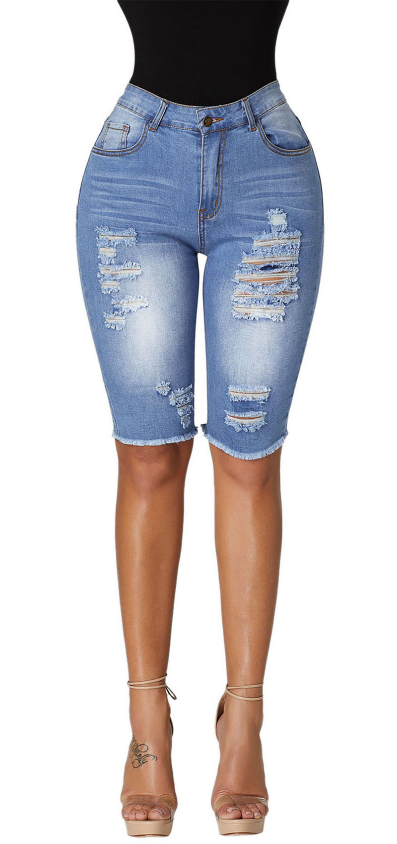 f9ec0579dfe52 2019 SEBOWEL Wash Denim Destroyed Holes Half Shorts Jeans For Woman ...