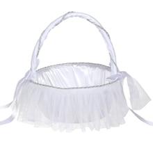 Романтический бантом Белый сатин Свадебная церемония, вечеринка для девочек в цветочек корзина N кружева свадебные принадлежности