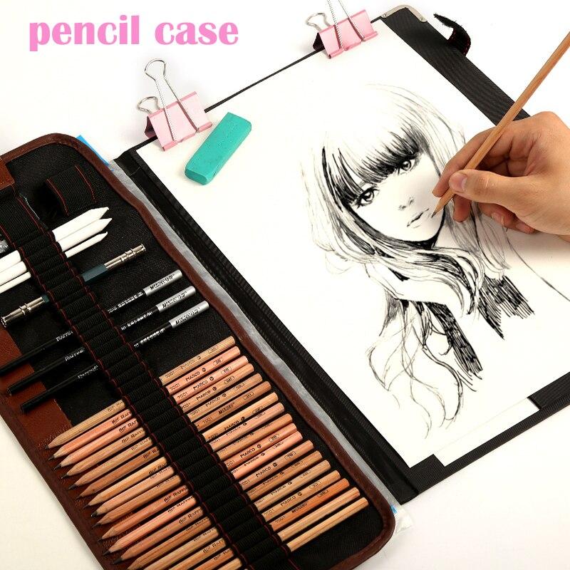 29 teile/satz Tragbare outdoor zeichnung kunst liefert Skizze Bleistifte fall Holzkohle Radiergummi Cutter Kit Tasche Kunst Handwerk Für Zeichnung Werkzeuge