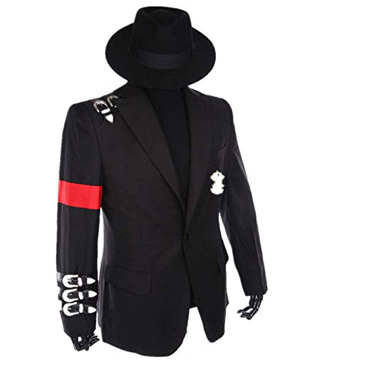 Michael Jackson Jacket Coat Overcoat Long Slim Double-breasted Turn-down Men's Fashion Warm Long Coat Outerwear With a Cap