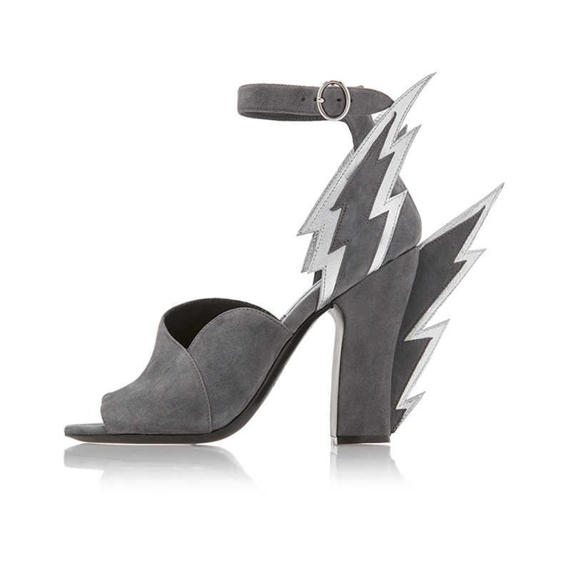 JAWAKYE şık alevli kanat sandalet yüksek topuk kaplı burnu açık sandalet yaz parti ayakkabıları kadınlar