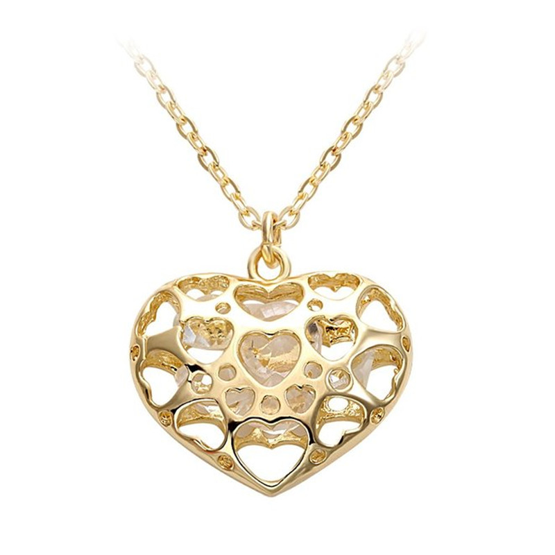 Senfai Luxurious Noble Jewelry Hot Sale New Fashion Hollow Heart Pendant Chain Chic Necklace for Party Best Gift