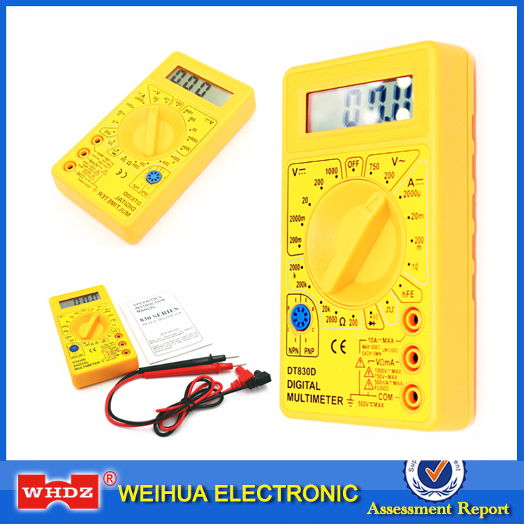 цена WHDZ DT 830D Mini Digital Multimeter with Buzzer Overload protection Voltage Ampere Ohm Meter Test Probe DC AC LCD Yellow
