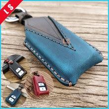Top Handmade Genuine Leather Car Key Case bag Cover Shell For Honda Fit Accord VEZEL City Jade Civic XRV