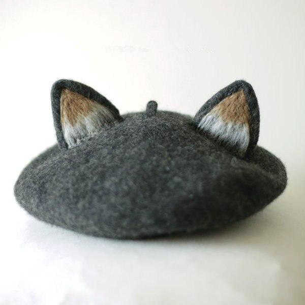Принцесса сладкий лолита винтаж ручной фокс кот уха шляпа правда настоящее шерстяной теплая зима берет ручной шерсть берет MZ14