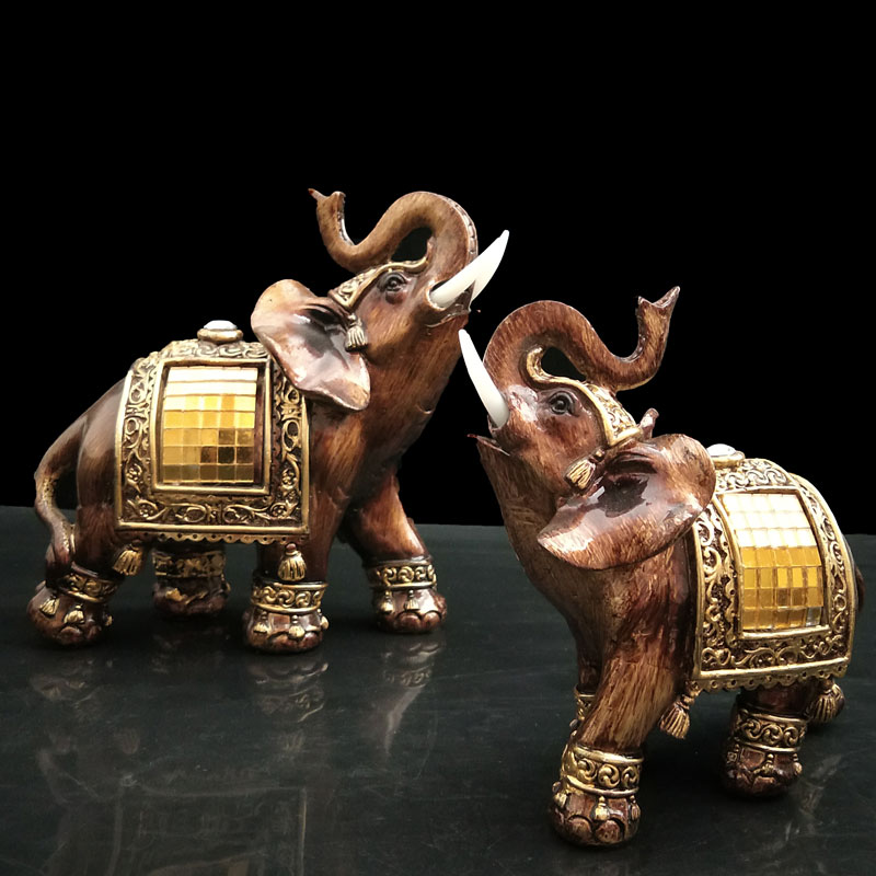 Elephant Figurines med Trunk Up Resin Trädgårdsfigurer Lucky Elephant Statues Feng Shui Skulptur Collectible Gifts Home Decor